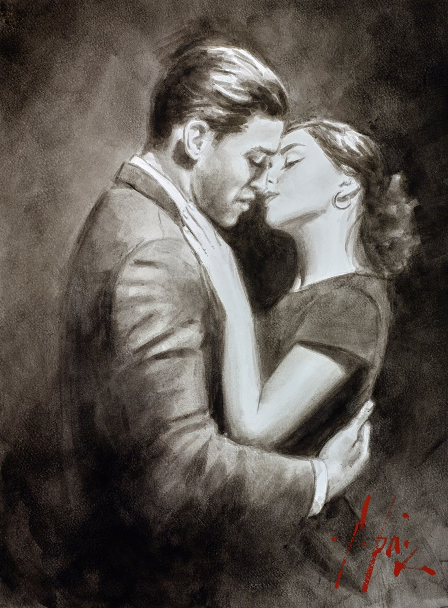 The Embrace VII (Couple) (Ink) by fabian perez -  sized 12x16 inches. Available from Whitewall Galleries
